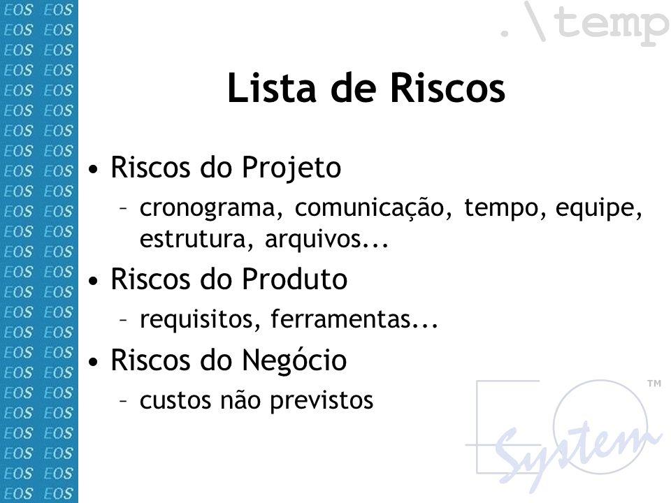 Lista de Riscos Riscos do Projeto –cronograma, comunicação, tempo, equipe, estrutura, arquivos... Riscos do Produto –requisitos, ferramentas... Riscos