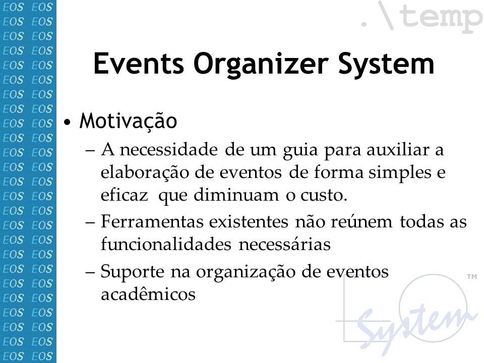 Events Organizer System Motivação –A necessidade de um guia para auxiliar a elaboração de eventos de forma simples e eficaz que diminuam o custo. –Fer