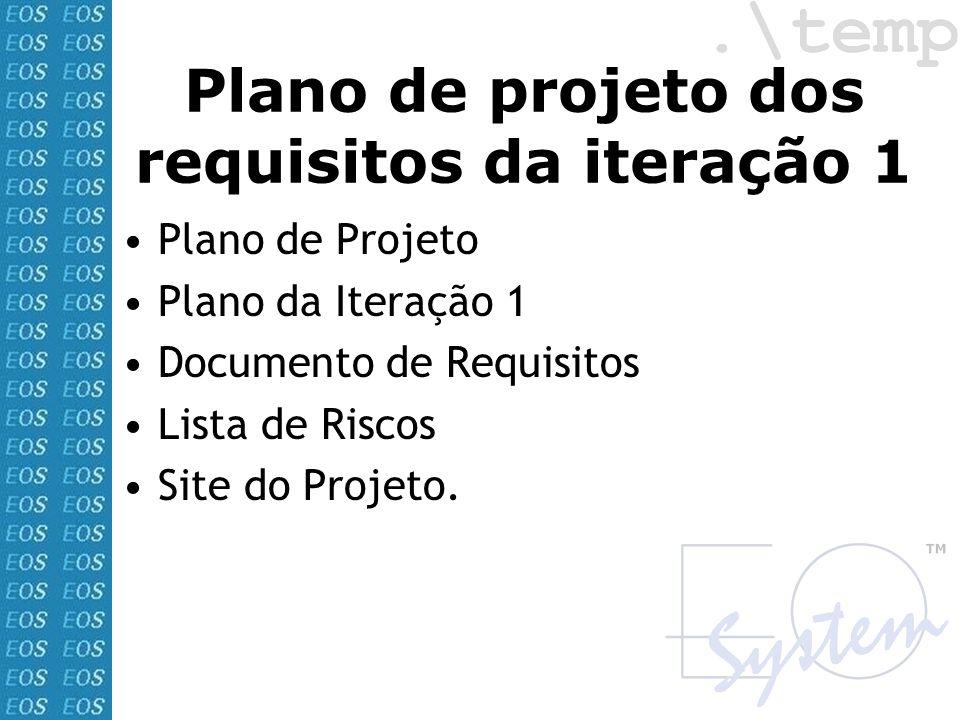Plano de projeto dos requisitos da iteração 1 Plano de Projeto Plano da Iteração 1 Documento de Requisitos Lista de Riscos Site do Projeto.