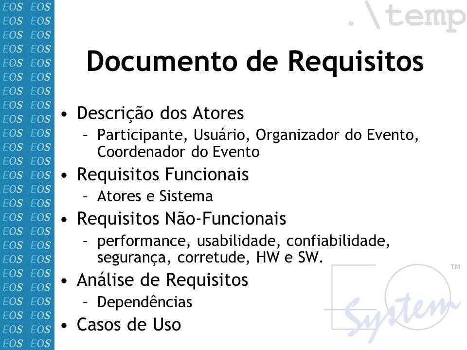 Documento de Requisitos Descrição dos Atores –Participante, Usuário, Organizador do Evento, Coordenador do Evento Requisitos Funcionais –Atores e Sist