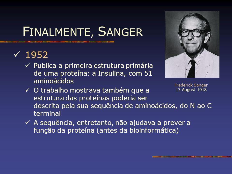 F INALMENTE, S ANGER 1952 Publica a primeira estrutura primária de uma proteína: a Insulina, com 51 aminoácidos O trabalho mostrava também que a estru