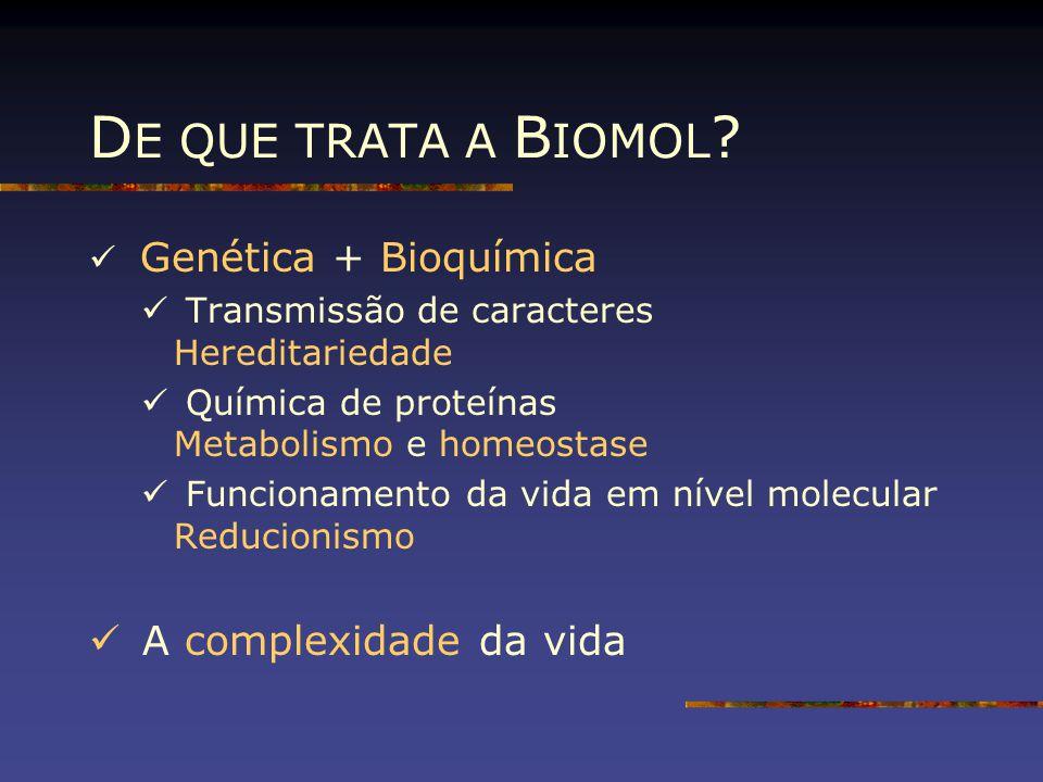 Genética + Bioquímica Transmissão de caracteres Hereditariedade Química de proteínas Metabolismo e homeostase Funcionamento da vida em nível molecular