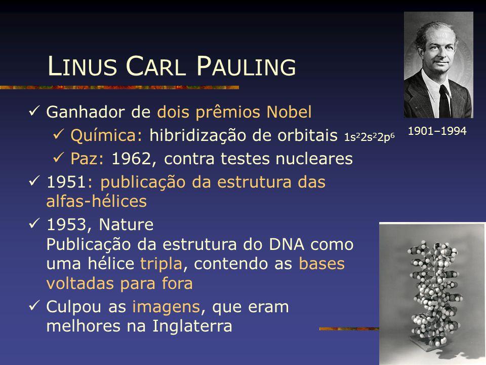 L INUS C ARL P AULING Ganhador de dois prêmios Nobel Química: hibridização de orbitais 1s 2 2s 2 2p 6 Paz: 1962, contra testes nucleares 1951: publica