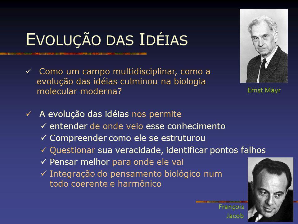E VOLUÇÃO DAS I DÉIAS Como um campo multidisciplinar, como a evolução das idéias culminou na biologia molecular moderna? A evolução das idéias nos per