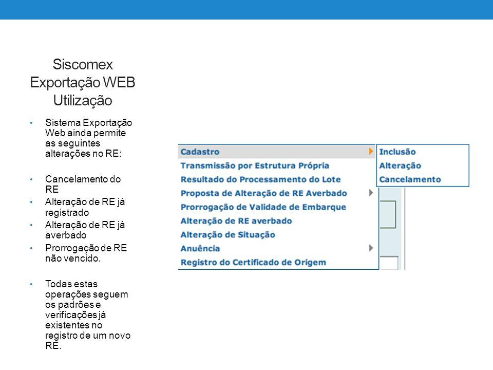 Siscomex Exportação WEB Utilização Sistema Exportação Web ainda permite as seguintes alterações no RE: Cancelamento do RE Alteração de RE já registrad
