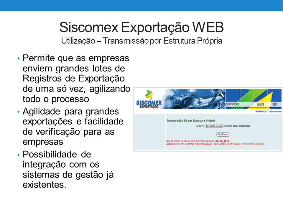 Siscomex Exportação WEB Utilização – Transmissão por Estrutura Própria Permite que as empresas enviem grandes lotes de Registros de Exportação de uma