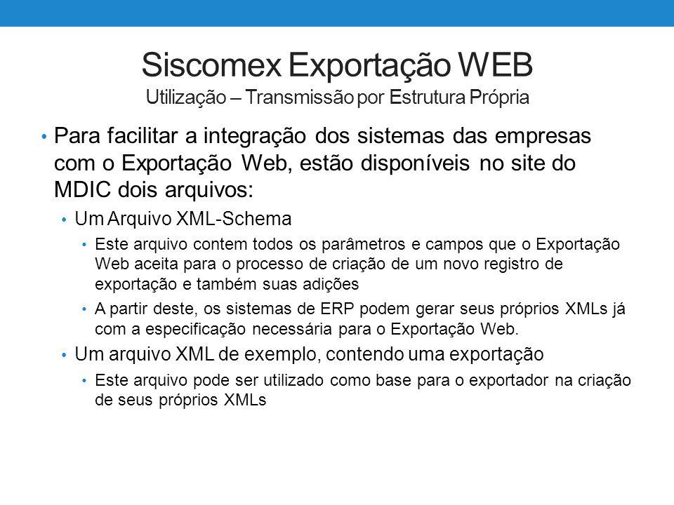 Siscomex Exportação WEB Utilização – Transmissão por Estrutura Própria Para facilitar a integração dos sistemas das empresas com o Exportação Web, est