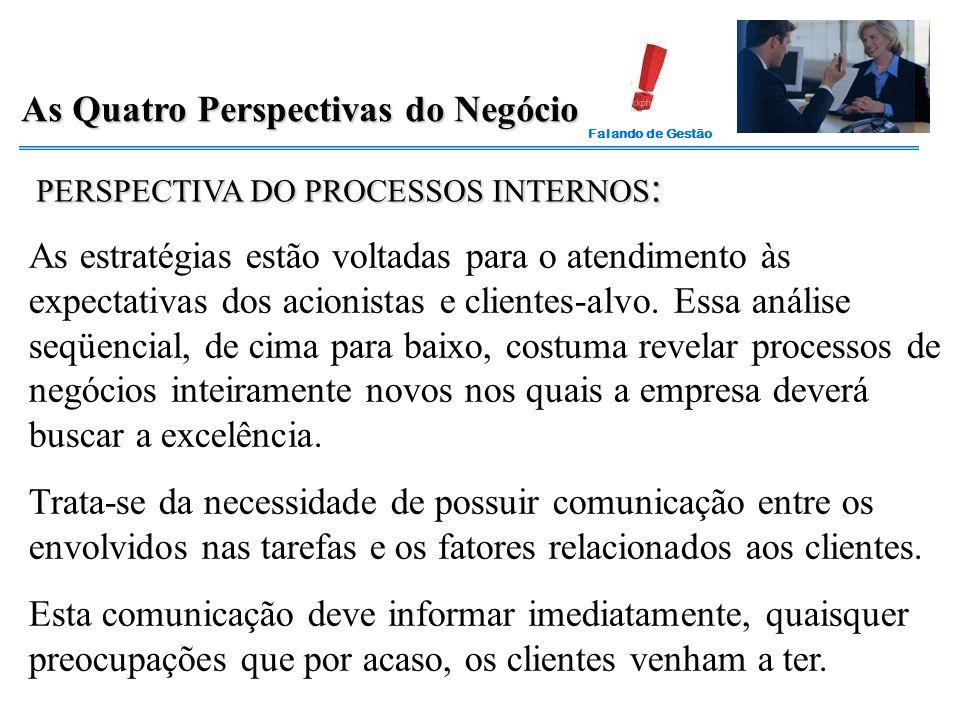 Falando de Gestão As Quatro Perspectivas do Negócio PERSPECTIVA DO PROCESSOS INTERNOS : As estratégias estão voltadas para o atendimento às expectativ