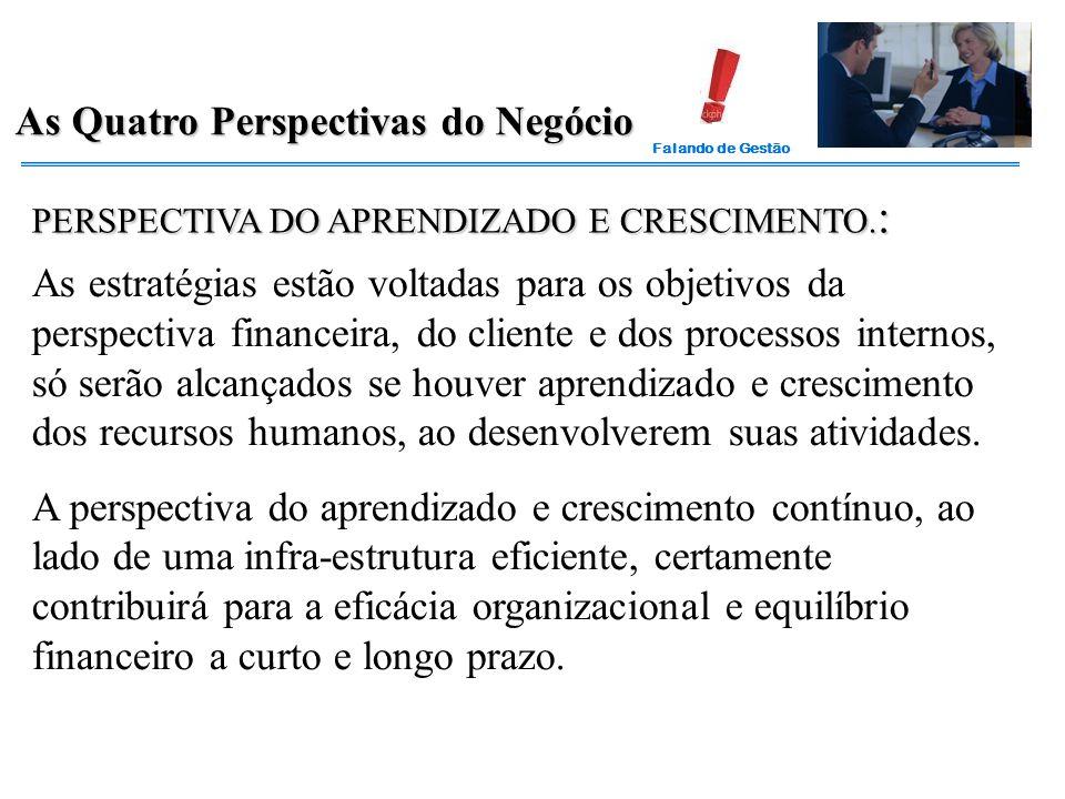 Falando de Gestão As Quatro Perspectivas do Negócio PERSPECTIVA DO APRENDIZADO E CRESCIMENTO. : As estratégias estão voltadas para os objetivos da per