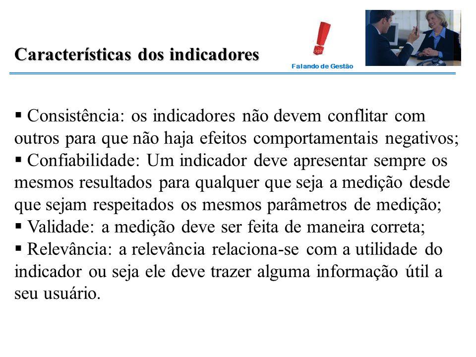 Falando de Gestão Características dos indicadores  Consistência: os indicadores não devem conflitar com outros para que não haja efeitos comportament