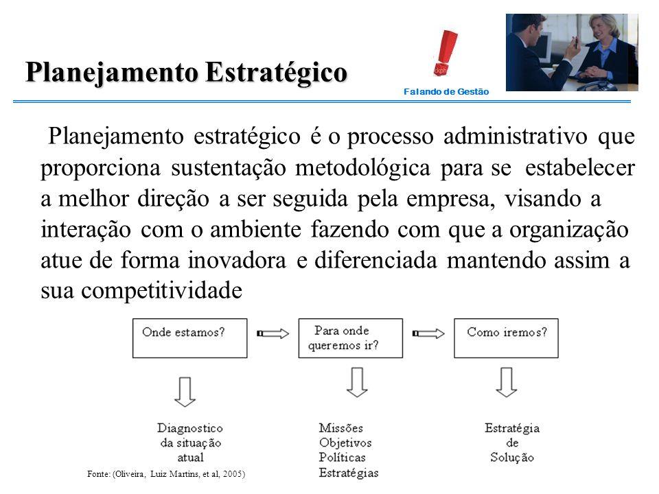 Falando de Gestão Planejamento estratégico é o processo administrativo que proporciona sustentação metodológica para se estabelecer a melhor direção a