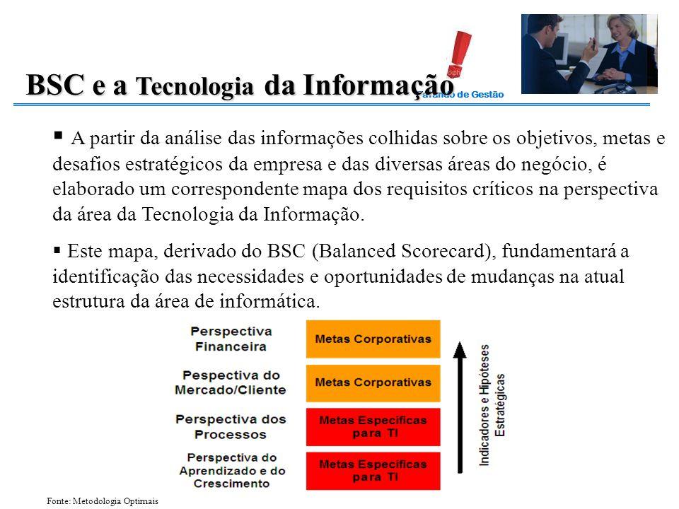 Falando de Gestão BSC e a Tecnologia da Informação  A partir da análise das informações colhidas sobre os objetivos, metas e desafios estratégicos da