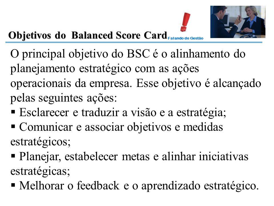 Falando de Gestão Objetivos do Balanced Score Card O principal objetivo do BSC é o alinhamento do planejamento estratégico com as ações operacionais d