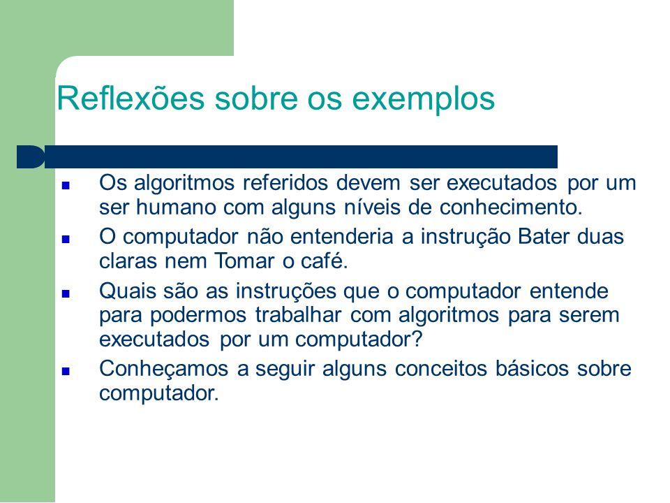 Reflexões sobre os exemplos Os algoritmos referidos devem ser executados por um ser humano com alguns níveis de conhecimento.