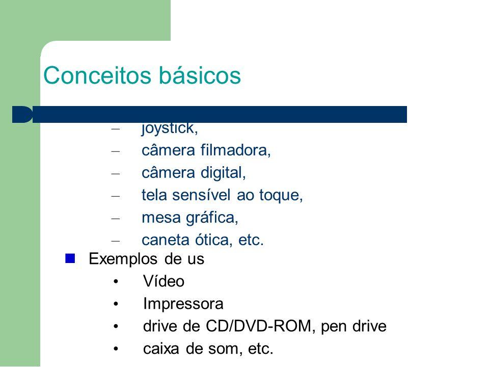Conceitos básicos – joystick, – câmera filmadora, – câmera digital, – tela sensível ao toque, – mesa gráfica, – caneta ótica, etc. Exemplos de us Víde