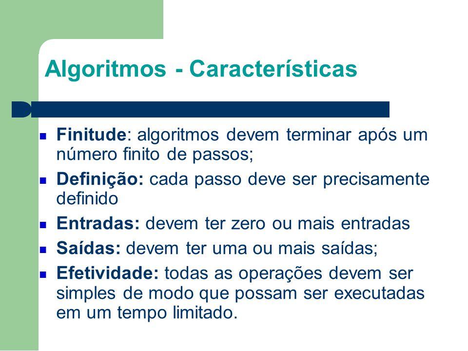 Algoritmos - Características Finitude: algoritmos devem terminar após um número finito de passos; Definição: cada passo deve ser precisamente definido