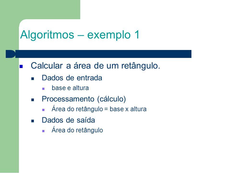 Algoritmos – exemplo 1 Calcular a área de um retângulo. Dados de entrada base e altura Processamento (cálculo) Área do retângulo = base x altura Dados