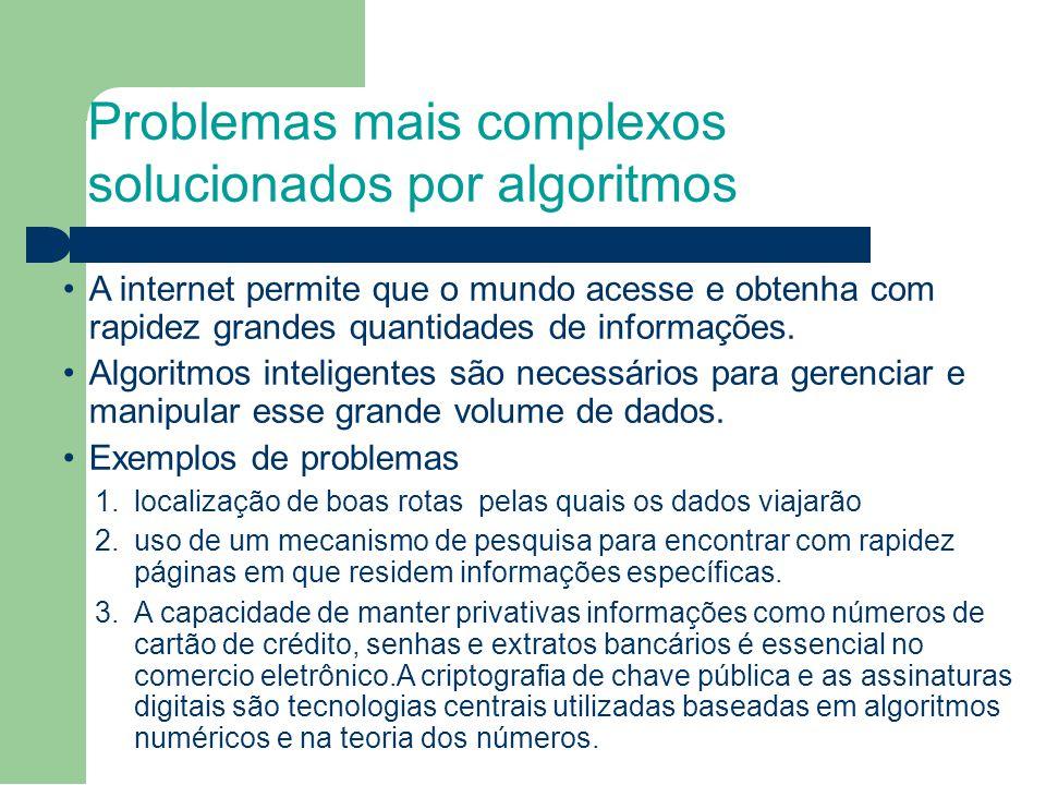 Problemas mais complexos solucionados por algoritmos A internet permite que o mundo acesse e obtenha com rapidez grandes quantidades de informações. A
