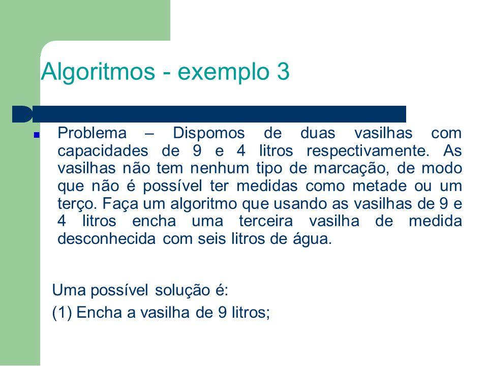 Algoritmos - exemplo 3 (2) Usando a vasilha de 9 litros, encha a vasilha de 4 litros; (3) Despeje o que sobrou na vasilha de 9 litros (5 litros) na terceira vasilha.