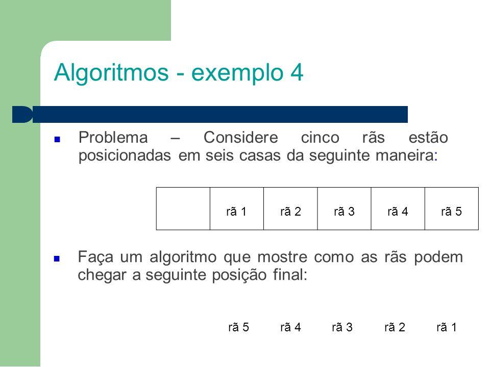 Algoritmos - exemplo 4 Problema – Considere cinco rãs estão posicionadas em seis casas da seguinte maneira: Faça um algoritmo que mostre como as rãs podem chegar a seguinte posição final: rã 5rã 4rã 3rã 2rã 1 rã 2rã 3rã 4rã 5