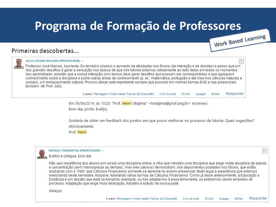 Programa de Formação de Professores Work Based Learning Primeiras descobertas...