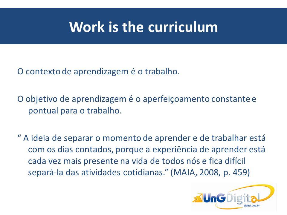 """Work is the curriculum O contexto de aprendizagem é o trabalho. O objetivo de aprendizagem é o aperfeiçoamento constante e pontual para o trabalho. """""""