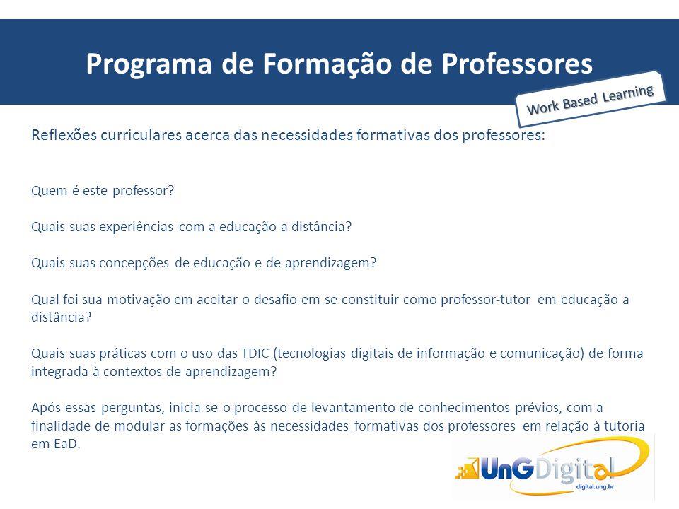 Programa de Formação de Professores Work Based Learning Reflexões curriculares acerca das necessidades formativas dos professores: Quem é este profess