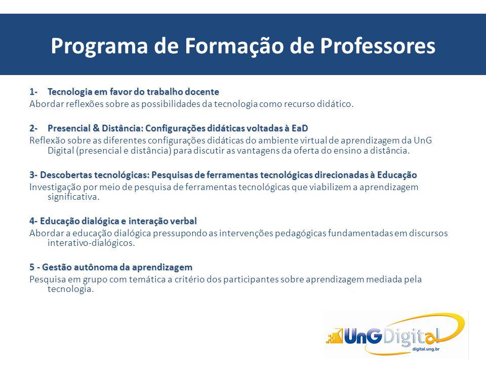Programa de Formação de Professores 1-Tecnologia em favor do trabalho docente Abordar reflexões sobre as possibilidades da tecnologia como recurso did