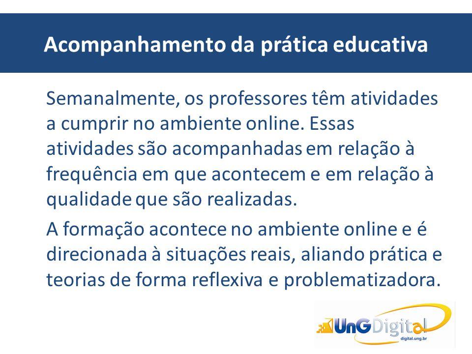 Acompanhamento da prática educativa Semanalmente, os professores têm atividades a cumprir no ambiente online. Essas atividades são acompanhadas em rel