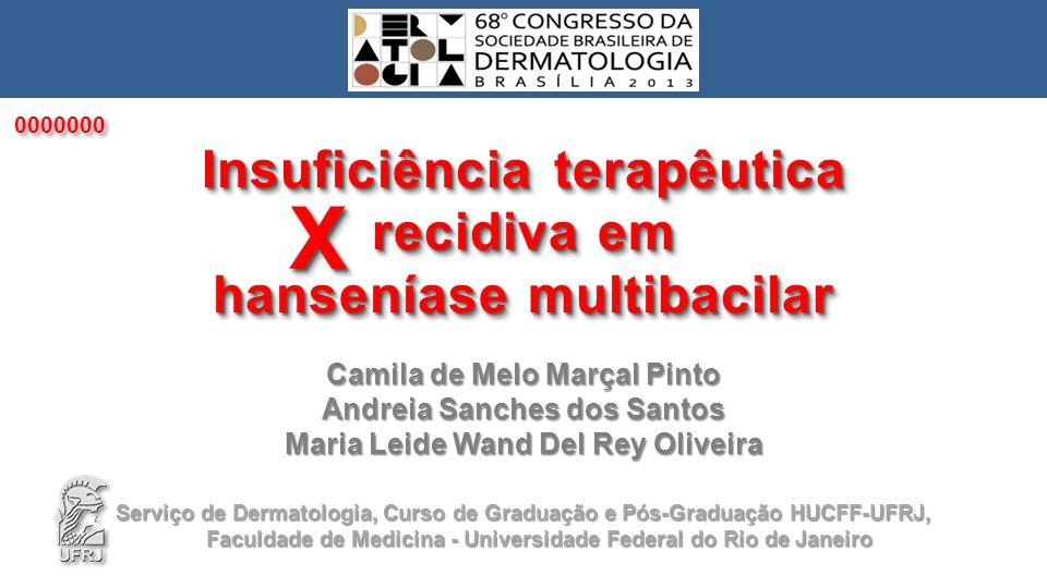 Camila de Melo Marçal Pinto Andreia Sanches dos Santos Maria Leide Wand Del Rey Oliveira Insuficiência terapêutica recidiva em hanseníase multibacilar