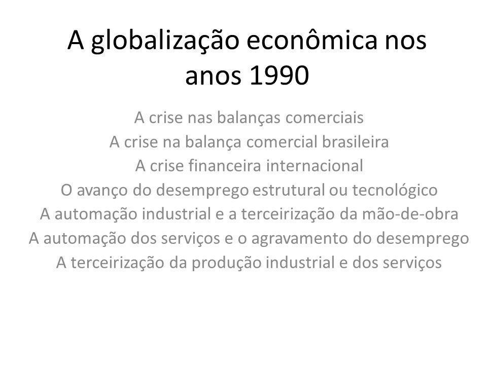 A crise nas balanças comerciais A crise na balança comercial brasileira A crise financeira internacional O avanço do desemprego estrutural ou tecnológ