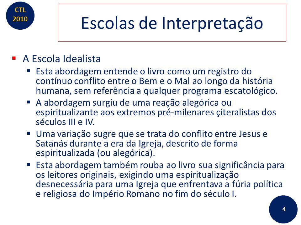 CTL 2010 Escolas de Interpretação  A Escola Idealista  Esta abordagem entende o livro como um registro do contínuo conflito entre o Bem e o Mal ao l