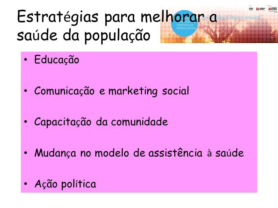Estrat é gias para melhorar a sa ú de da popula ç ão Educa ç ão Comunica ç ão e marketing social Capacita ç ão da comunidade Mudan ç a no modelo de as