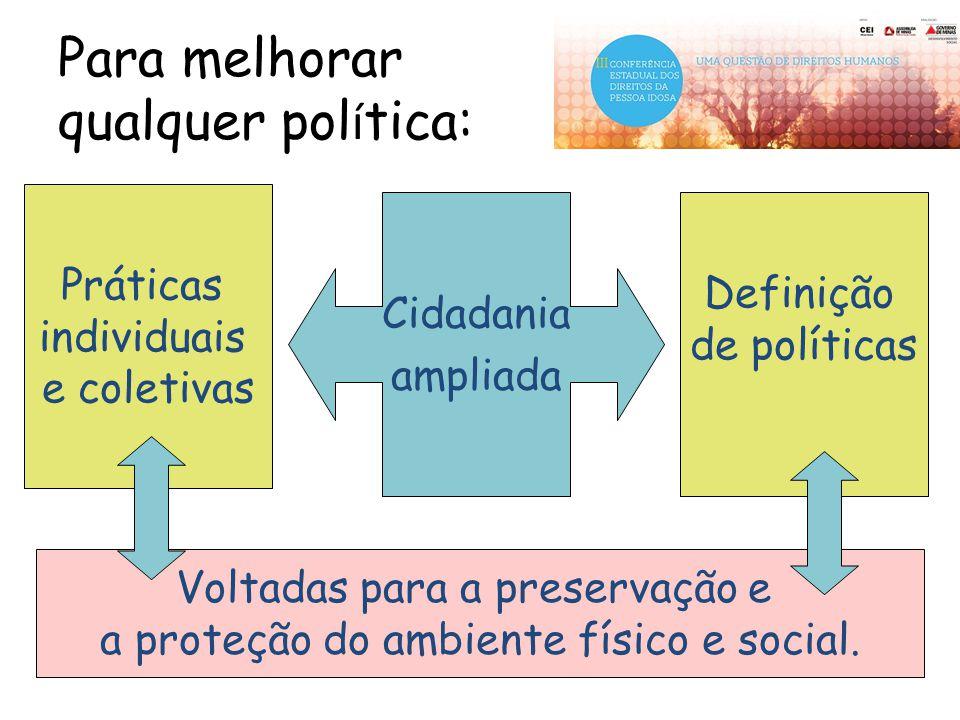 Para melhorar qualquer pol í tica: Cidadania ampliada Práticas individuais e coletivas Definição de políticas Voltadas para a preservação e a proteção