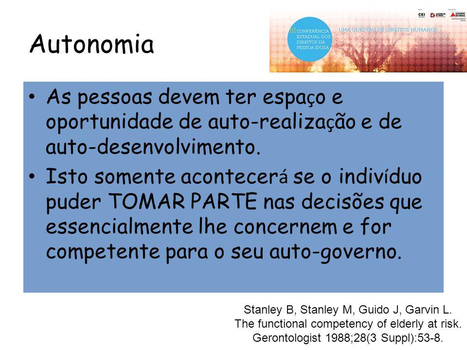 Autonomia As pessoas devem ter espa ç o e oportunidade de auto-realiza ç ão e de auto-desenvolvimento. Isto somente acontecer á se o indiv í duo puder