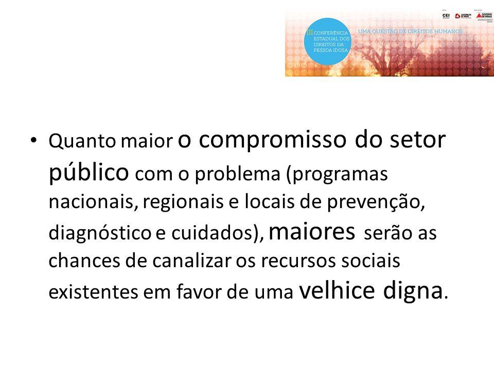 Quanto maior o compromisso do setor público com o problema (programas nacionais, regionais e locais de prevenção, diagnóstico e cuidados), maiores ser