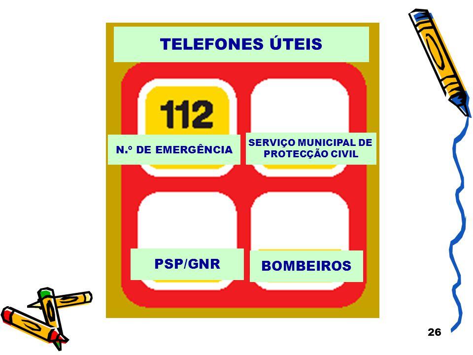 26 N.º DE EMERGÊNCIA SERVIÇO MUNICIPAL DE PROTECÇÃO CIVIL PSP/GNR BOMBEIROS TELEFONES ÚTEIS