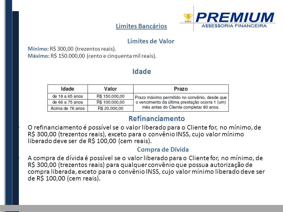 Limites Bancários Limites de Valor Mínimo: R$ 300,00 (trezentos reais). Máximo: R$ 150.000,00 (cento e cinquenta mil reais). Idade Refinanciamento O r