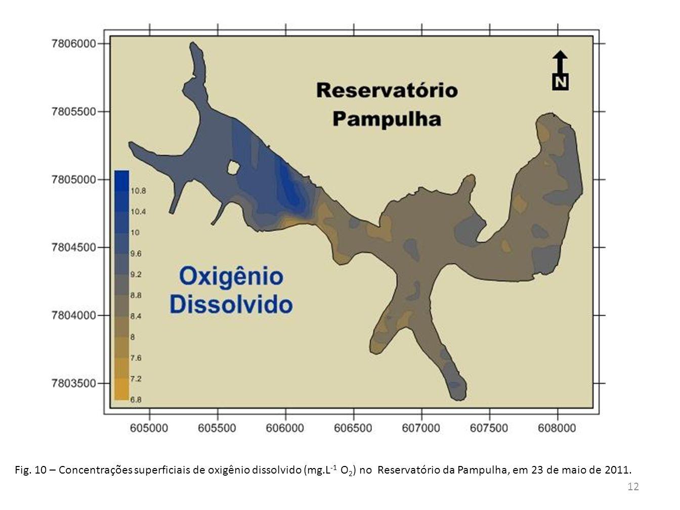 Fig. 10 – Concentrações superficiais de oxigênio dissolvido (mg.L -1 O 2 ) no Reservatório da Pampulha, em 23 de maio de 2011. 12