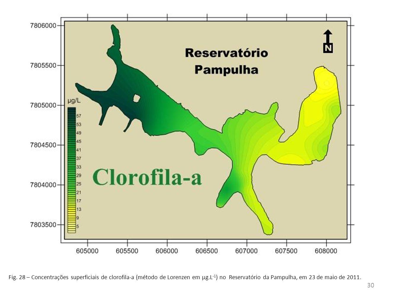 Fig. 28 – Concentrações superficiais de clorofila-a (método de Lorenzen em µg.L -1 ) no Reservatório da Pampulha, em 23 de maio de 2011. 30
