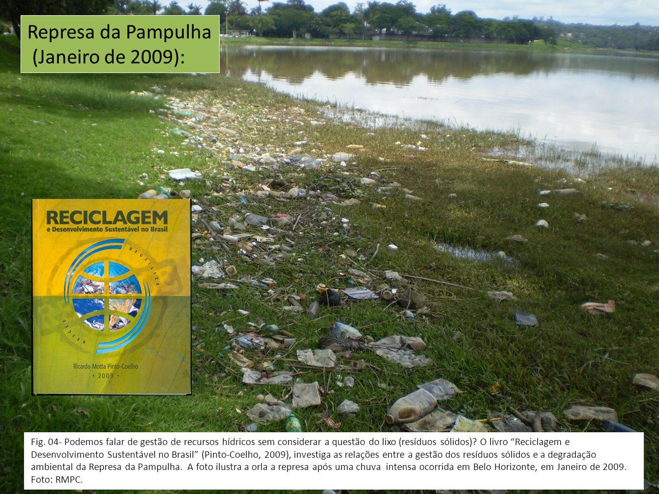 """Fig. 04- Podemos falar de gestão de recursos hídricos sem considerar a questão do lixo (resíduos sólidos)? O livro """"Reciclagem e Desenvolvimento Suste"""