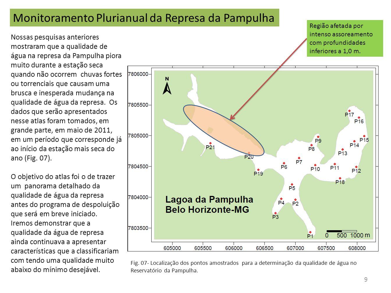 Monitoramento Plurianual da Represa da Pampulha Nossas pesquisas anteriores mostraram que a qualidade de água na represa da Pampulha piora muito duran