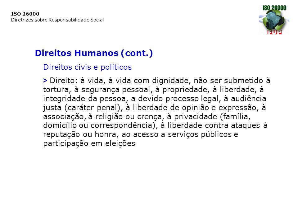 ISO 26000 Diretrizes sobre Responsabilidade Social Direitos Humanos (cont.) Direitos civis e políticos > Direito: à vida, à vida com dignidade, não se