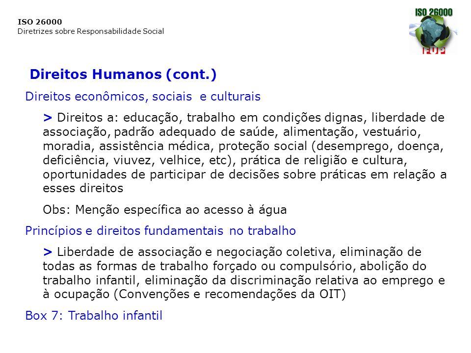 ISO 26000 Diretrizes sobre Responsabilidade Social Direitos Humanos (cont.) Direitos econômicos, sociais e culturais > Direitos a: educação, trabalho