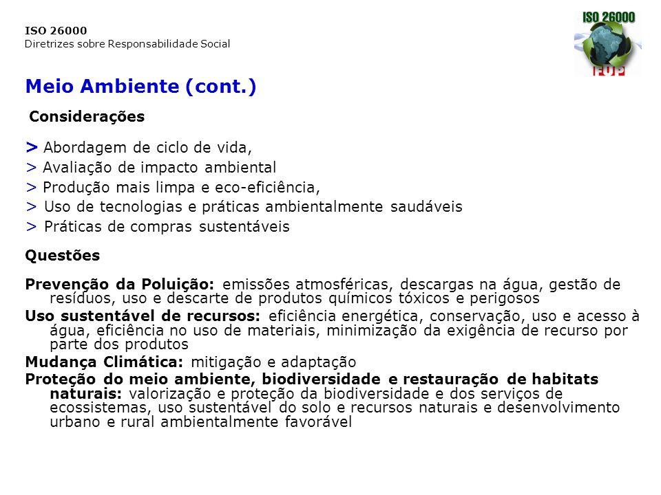 ISO 26000 Diretrizes sobre Responsabilidade Social Meio Ambiente (cont.) Considerações > Abordagem de ciclo de vida, > Avaliação de impacto ambiental