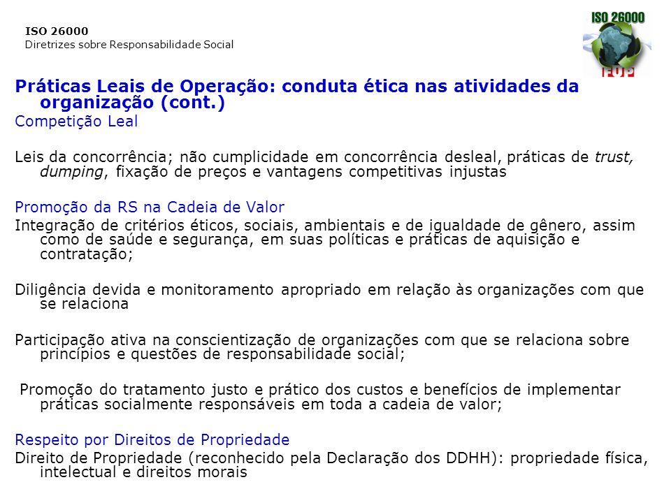 ISO 26000 Diretrizes sobre Responsabilidade Social Práticas Leais de Operação: conduta ética nas atividades da organização (cont.) Competição Leal Lei
