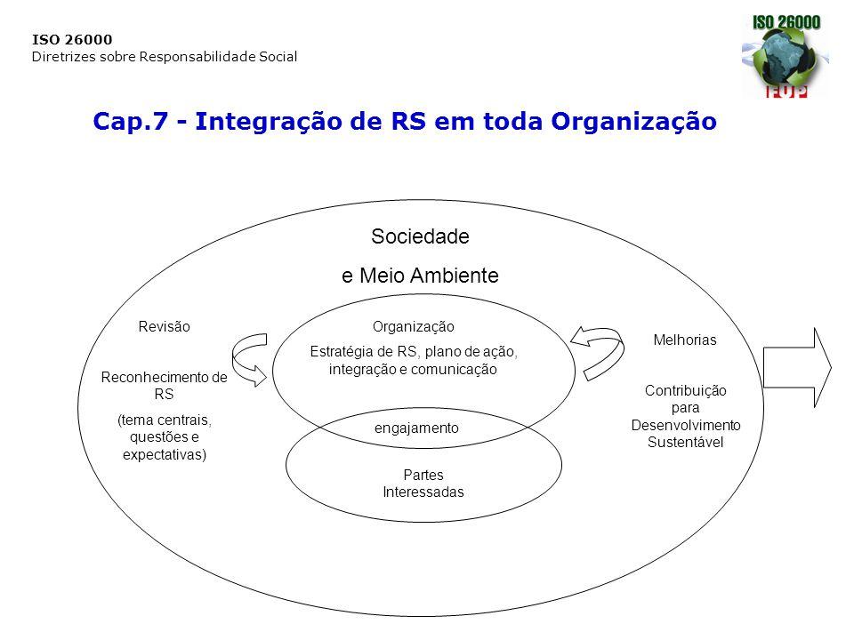 ISO 26000 Diretrizes sobre Responsabilidade Social Cap.7 - Integração de RS em toda Organização Sociedade e Meio Ambiente Organização Estratégia de RS