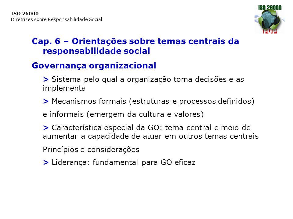 ISO 26000 Diretrizes sobre Responsabilidade Social Cap. 6 – Orientações sobre temas centrais da responsabilidade social Governança organizacional > Si