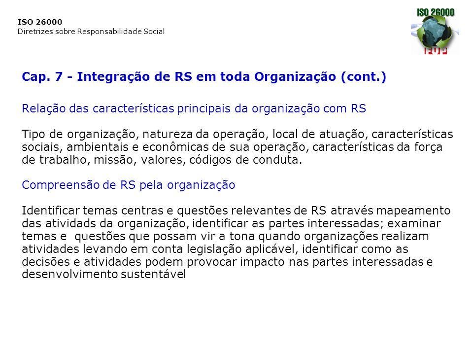 ISO 26000 Diretrizes sobre Responsabilidade Social Cap. 7 - Integração de RS em toda Organização (cont.) Relação das características principais da org