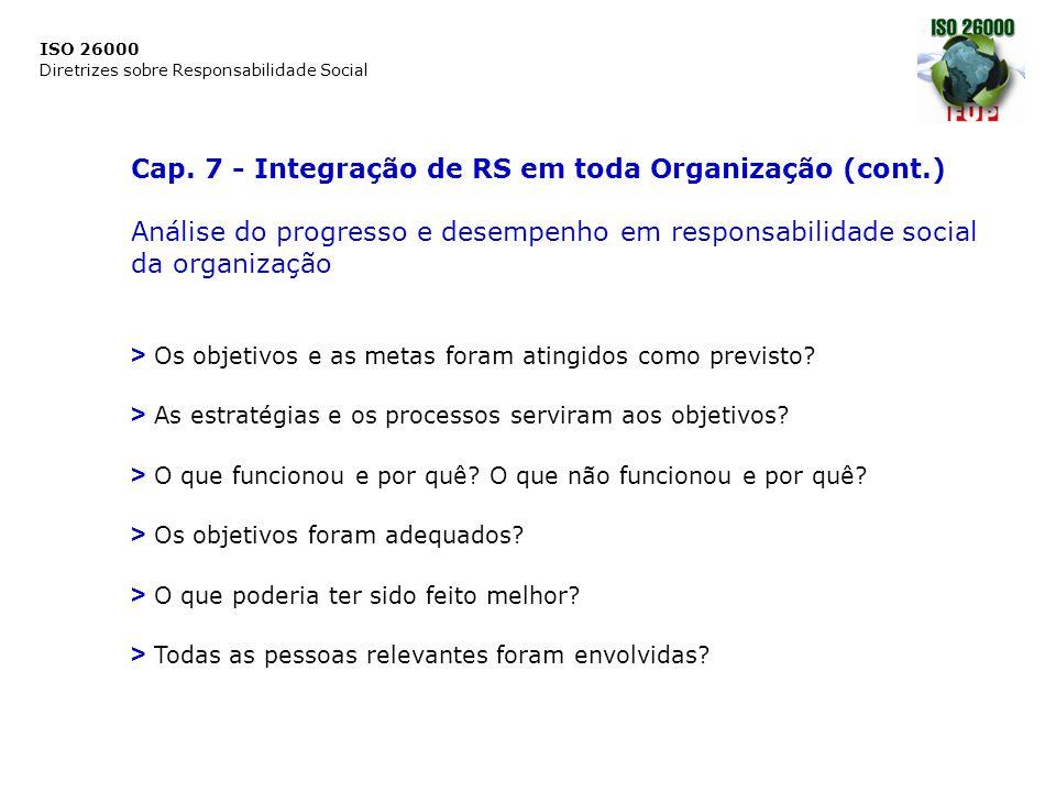 ISO 26000 Diretrizes sobre Responsabilidade Social Cap. 7 - Integração de RS em toda Organização (cont.) Análise do progresso e desempenho em responsa